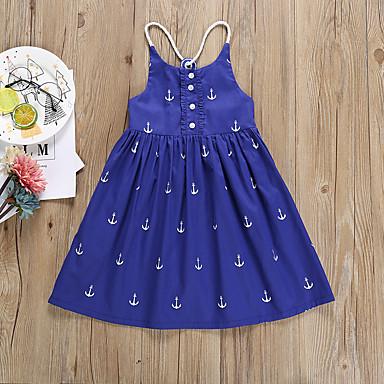 baratos Vestidos para Meninas-Infantil Bébé Para Meninas Activo Básico Geométrica Frente Única Estampado Sem Manga Altura dos Joelhos Vestido Azul