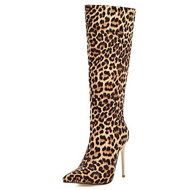 voordelige Dameslaarzen-Dames Laarzen Naaldhak Gepuntte Teen PU Knielaarzen Klassiek / Brits Herfst winter Zwart / zwart / wit / Luipaard / Luipaard