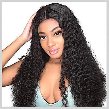 Remy kosa Lace Front Perika stil Brazilska kosa Water Wave Crna Perika 130% Gustoća kose Crna Žene Srednja dužina Perike s ljudskom kosom beikashang