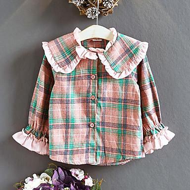 baratos Blusas para Meninas-Infantil Para Meninas Vintage Moda de Rua Xadrez Retalhos Frufru Patchwork Manga Longa Camisa Rosa
