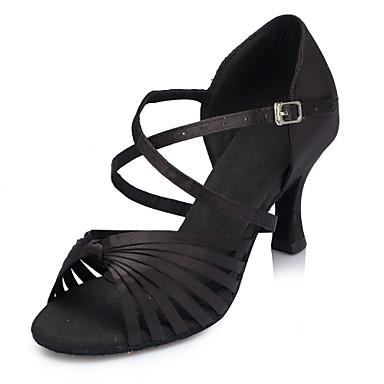 Kadın's Saten Latin Dans Ayakkabıları Ayrık Renkler Topuklular Kıvrımlı Topuk Kişiselleştirilmiş Siyah