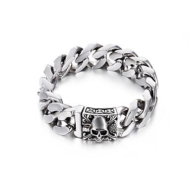 voordelige Herensieraden-Heren Dames Armband Schakelketting hoofd Europees Titanium Staal Armband sieraden Zilver Voor Lahja Dagelijks Carnaval Straat Club