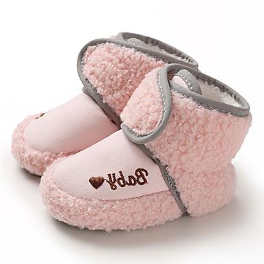 baratos Sapatos de Criança-Para Meninos / Para Meninas Camurça Botas Crianças (0-9m) / Criança (9m-4ys) Primeiros Passos Rosa claro / Marron / Cinzento Inverno