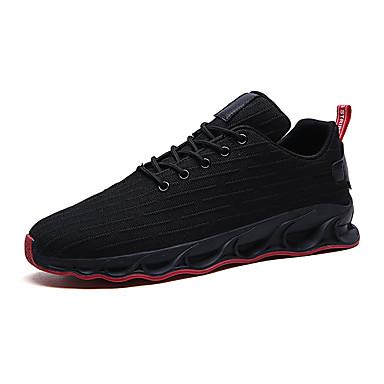 Erkek Ayakkabı Elastik Kumaş / Tissage Volant Yaz Sportif Atletik Ayakkabılar Koşu Atletik için Siyah ve Altın / Siyah ve Beyaz / Siyah / Kırmızı / Zıt Renkli
