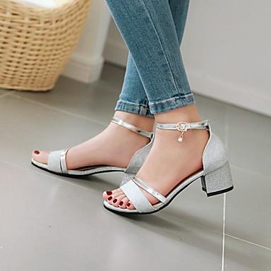 Kadın's Sandaletler Kalın Topuk Burnu Açık Taşlı / Toka Suni Deri Günlük / Minimalizm Yürüyüş Yaz / İlkbahar yaz Siyah / Altın / Gümüş