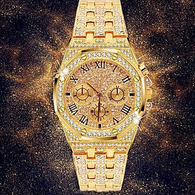 Недорогие Нарядные часы-Муж. Нарядные часы Японский Кварцевый вымостить Нержавеющая сталь Серебристый металл / Золотистый 30 m Секундомер Повседневные часы Имитация Алмазный Аналоговый Роскошь горный хрусталь Мода -