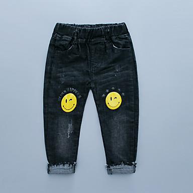 tanie Jeansy dla chłopców-Dzieci Dla chłopców Podstawowy Punk i gotyk Nadruk Jeansy Czarny