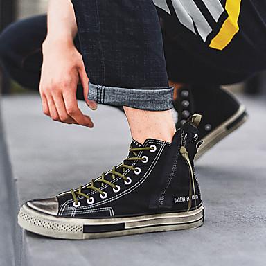 Erkek Ayakkabı Kanvas İlkbahar yaz / Sonbahar Kış Günlük / Çıtı Pıtı Spor Ayakkabısı Günlük / Dış mekan için Siyah / Beyaz / Zıt Renkli