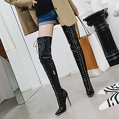 voordelige Dameslaarzen-Dames Laarzen Naaldhak Gepuntte Teen Lakleer Over de knie laarzen Klassiek / minimalisme Herfst winter Zwart / Wit / Rood / Bruiloft / Feesten & Uitgaan