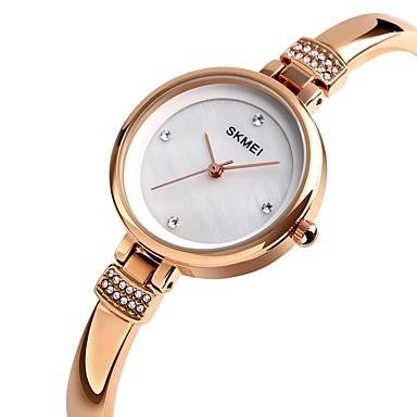 baratos Relógios Homem-SKMEI Mulheres Relógios de Quartzo Nova chegada Elegante Prata Ouro Rose Lega Chinês Quartzo Rosa Dourado Prata Impermeável Relógio Casual 30 m Analógico