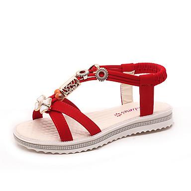 Kadın's Sandaletler Düz Taban Açık Uçlu İmistasyon İnci PU Tatlı / Minimalizm Yaz / İlkbahar yaz Siyah / Kırmzı / Bej