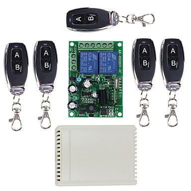 billige Smartbrytere-smart bryter ak-rx220-2c + ak-j027 (5stk) for daglig / stue / soverom fjernstyrt / multifunksjon / enkel å installere fjernkontroll 220 v / 85-265 v / 110-150 v