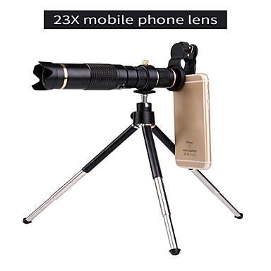 voordelige Microscopen & Endoscopen-universele clip hd23x zoom mobiele telefoon telescoop lens telelens externe smartphone cameralens voor iphone samsung huawei