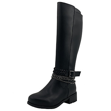 povoljno Ženske čizme-Žene Čizme Blok pete Okrugli Toe Mekana koža Čizme do koljena Vintage Zima Crn / Braon