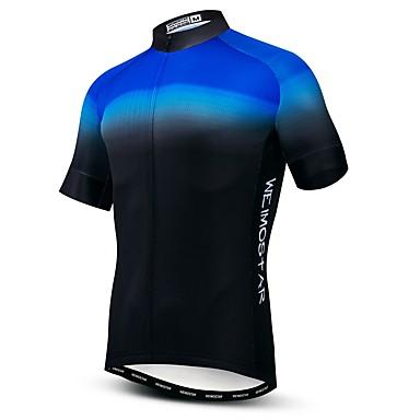 WEIMOSTAR Erkek Kısa Kollu Bisiklet Forması Mavi Yenilik Bisiklet Forma Üstler Nefes Alabilir Hızlı Kuruma Spor Dalları Polyester Elastane Terylene Dağ Bisikletçiliği Yol Bisikletçiliği Giyim / Likra