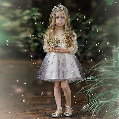 halpa Tyttöjen mekot-Lapset Tyttöjen söpö tyyli Color Block Paljetti Pitkähihainen Polvipituinen Mekko Hopea