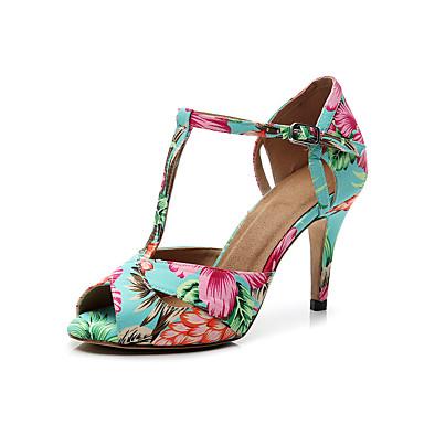 baratos Shall We® Sapatos de Dança-Mulheres Couro Sintético Sapatos de Dança Latina Presilha Salto Salto Alto Magro Personalizável Arco-íris