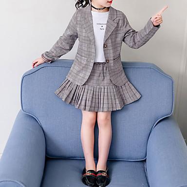 baratos Conjuntos para Meninas-Infantil Bébé Para Meninas Básico Moda de Rua Escola Roupa Diária Xadrez Pregueado Manga Longa Curto Curto Conjunto Cinzento
