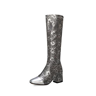 povoljno Ženske cipele-Žene Čizme Kockasta potpetica Cap-Toe cipele PU Čizme do koljena Vintage Jesen zima Crn / Obala / Pink / Zabava i večer