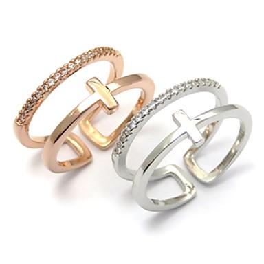 voordelige Dames Sieraden-Dames Ring 1pc Zilver Goud Rose Koper Cirkelvormig Standaard Koreaans Modieus Festival Sieraden Nummer Letter Kwaad oog Schattig