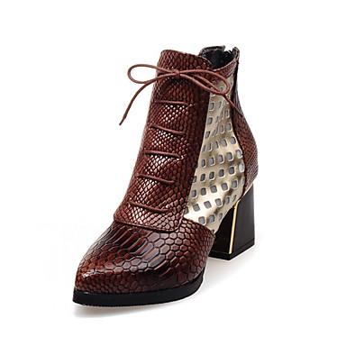 voordelige Dameslaarzen-Dames Laarzen Blokhak Gepuntte Teen PU Korte laarsjes / Enkellaarsjes Vintage / Brits Herfst winter Donker Bruin / Rood / Blauw / Feesten & Uitgaan