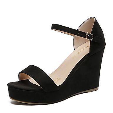 hesapli Kadın Sandaletleri-Kadın's Sandaletler Dolgu Topuk Açık Uçlu Fiyonk Süet Klasik İlkbahar yaz / Sonbahar Kış Siyah / Bej