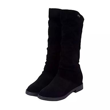 voordelige Dameslaarzen-Dames Laarzen Lage hak Ronde Teen Microvezel Kuitlaarzen Herfst winter Zwart / Geel / Rood