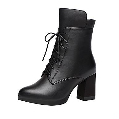 cheap Women's Boots-Women's Boots Chunky Heel Round Toe PU Fall & Winter Black
