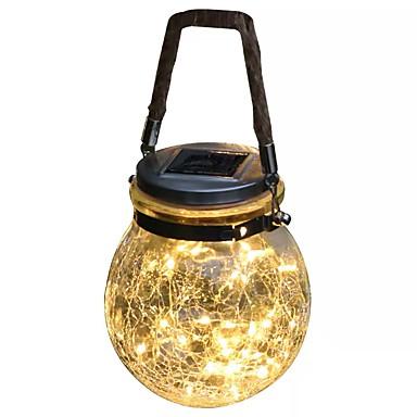 abordables Éclairage Extérieur-QIHengZhaoMing 1pc 20 W Eclairages extérieurs muraux Imperméable / Solaire Blanc Chaud 3.2 V Eclairage Extérieur 20 Perles LED