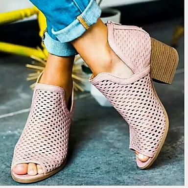 voordelige Dameslaarzen-Dames Laarzen Blokhak Peep Toe PU Korte laarsjes / Enkellaarsjes Zomer Bruin / Roze / Grijs