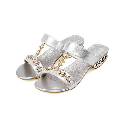 voordelige Damespantoffels & slippers-Dames Slippers & Flip-Flops Lage hak Ronde Teen PU Zomer Goud / Blauw / Zilver