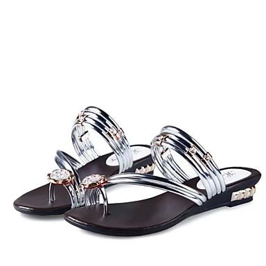 voordelige Damespantoffels & slippers-Dames Slippers & Flip-Flops Platte hak Ronde Teen PU Zomer Zwart / Wit / Goud