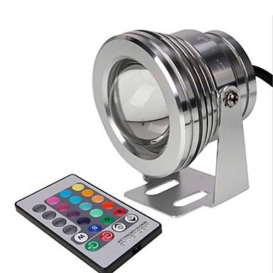 abordables Éclairage Extérieur-led spotlight 10w rgb avec télécommande ip67 étanche projecteur sous-marin lampe pour jardin fontaine piscine éclairage de la pelouse