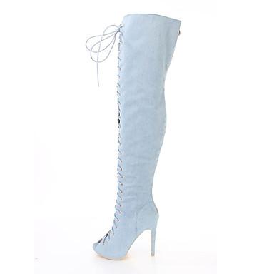 voordelige Dameslaarzen-Dames Laarzen Naaldhak Peep Toe Suède / Denim Over de knie laarzen Brits / minimalisme Lente & Herfst / Winter Lichtblauw / Donkerblauw