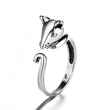 voordelige Herensieraden-Heren Dames Ring 1pc Zilver Koper Cirkelvormig Vintage Standaard Modieus Festival Sieraden Muis Dier Schattig