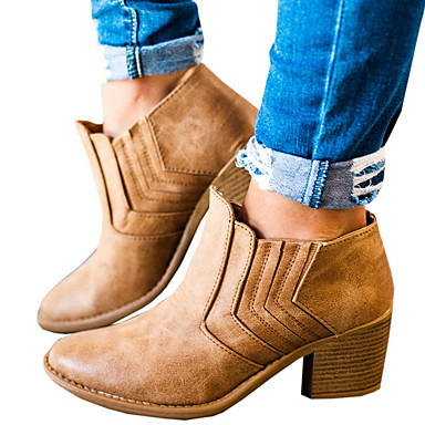 cheap Women's Boots-Women's Boots Chunky Heel Round Toe PU Booties / Ankle Boots Winter Black / Brown / Gray