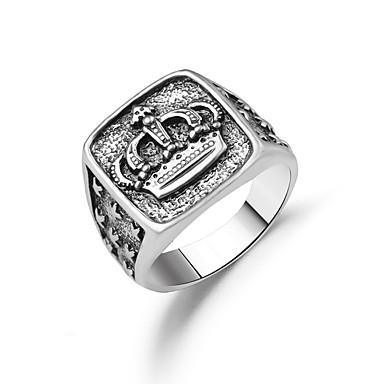 voordelige Herensieraden-Heren Ring 1pc Zilver Legering Klassiek Vintage Dagelijks Werk Sieraden Klassiek Kroon Cool