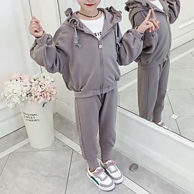 baratos Conjuntos para Meninas-Infantil Bébé Para Meninas Básico Moda de Rua Para Noite Casual Geométrica Frufru Estampado Manga Longa Curto Curto Conjunto Rosa