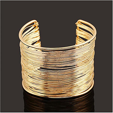 cheap Bracelets-Women's Cuff Bracelet Hollow Out Vertical / Gold bar Stylish Alloy Bracelet Jewelry Gold For Daily