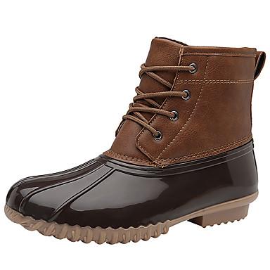 voordelige Dameslaarzen-Dames Laarzen Blokhak Ronde Teen PU Korte laarsjes / Enkellaarsjes Winter Zwart / Lichtbruin / Donker Bruin