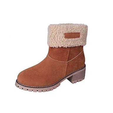 voordelige Dameslaarzen-Dames Laarzen Blokhak Ronde Teen Microvezel Herfst winter Zwart / Oranje / Leger Groen