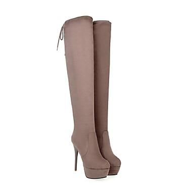 voordelige Dameslaarzen-Dames Laarzen Naaldhak Gepuntte Teen Synthetisch Dij-hoge laarzen Zoet / Brits Winter / Herfst winter Zwart / Wijn / Grijs / Feesten & Uitgaan