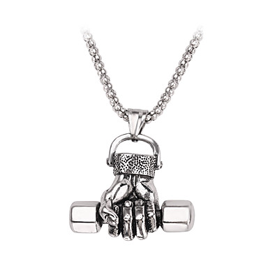 voordelige Herensieraden-Heren Hangertjes ketting meetkundig Dumbbell Casual / Sporty Kromi Zilver 50 cm Kettingen Sieraden 1pc Voor Lahja