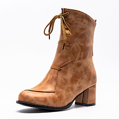 voordelige Dameslaarzen-Dames Laarzen Blokhak Ronde Teen PU Korte laarsjes / Enkellaarsjes Vintage / Informeel Winter Zwart / Wijn / Oranje