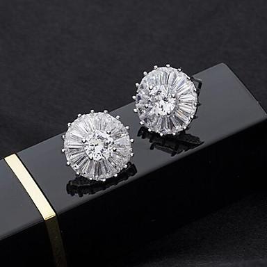 voordelige Dames Sieraden-Dames Wit Zirkonia Oorknopjes Transparant Gypsophila Elegant S925 Sterling Zilver oorbellen Sieraden Zilver Voor Verloving Dagelijks 1 paar