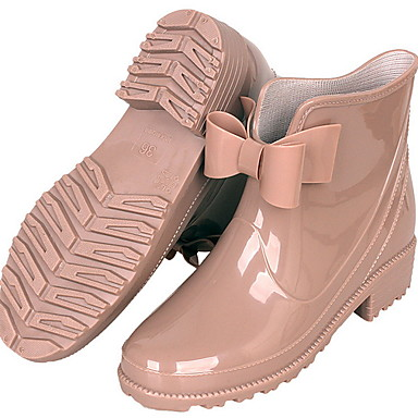 voordelige Dameslaarzen-Dames Laarzen Blok hiel Ronde Teen PU Korte laarsjes / Enkellaarsjes Herfst winter Zwart / Bruin / Amandel
