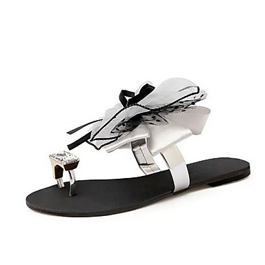 voordelige Damespantoffels & slippers-Dames Slippers & Flip-Flops Platte hak Peep Toe PU Zomer Zwart / Grijs