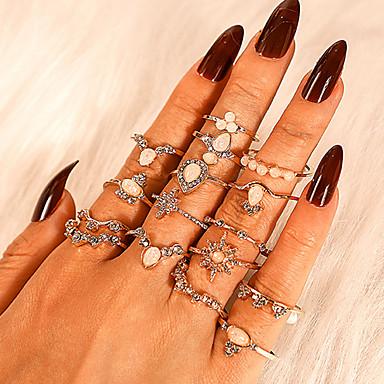 billige Motering-Dame Ring Ring Set 16pcs Gull Strass Legering Annerledes Klassisk Vintage trendy Gave Daglig Smykker Vintage Stil Krone Pære