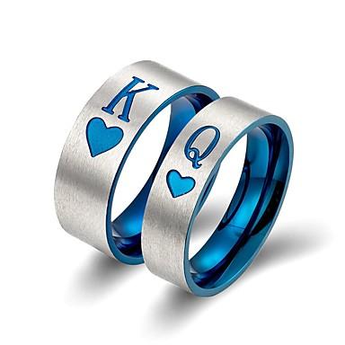 voordelige Dames Sieraden-Voor Stel Bandring 2pcs Blauw Titanium Statement Klassiek Europees Bruiloft Verloving Sieraden Letter
