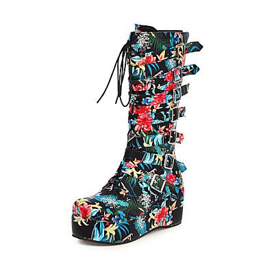 voordelige Dameslaarzen-Dames Laarzen Creepers Ronde Teen PU Knielaarzen Brits / Studentikoos Herfst winter Zwart / Wit / Blauw / Feesten & Uitgaan